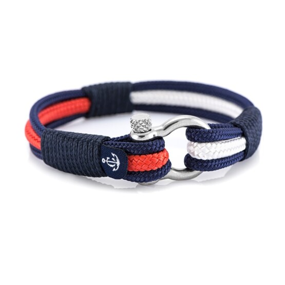 Морской браслет красного белого и синего цвета — № 3014
