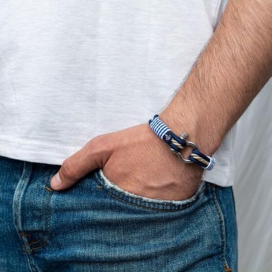 Морской браслет для мужчин и женщин бежево-синего цвета — № 4058 фото 4