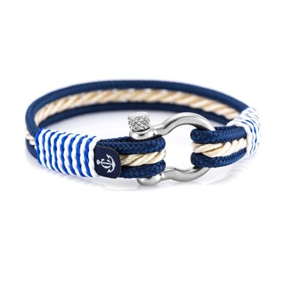 Морской браслет для мужчин и женщин бежево-синего цвета — № 4058
