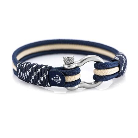 Brățară nautică din sfoară de culoare bleumarin cu bej - CNB #5040