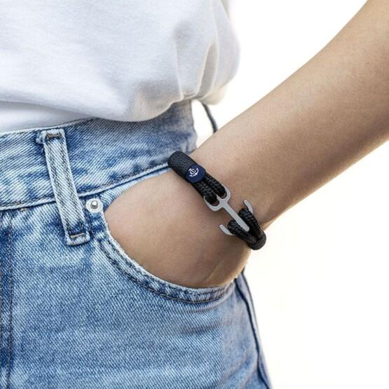 Черный браслет с якорем для мужчин и женщин — № 6101