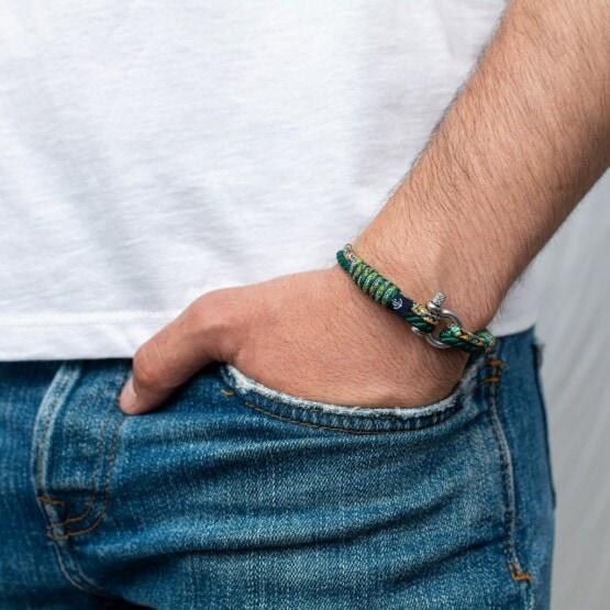 Зелёный комбинированный тонкий браслет для мужчин и женщин — № 838 фото 4