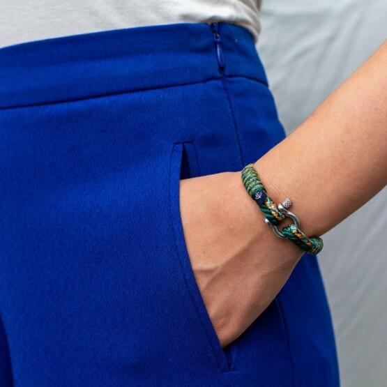 Зелёный комбинированный тонкий браслет для мужчин и женщин — № 838 фото 5