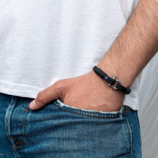 Чёрный тонкий браслет для мужчин и женщин — № 862 фото 4