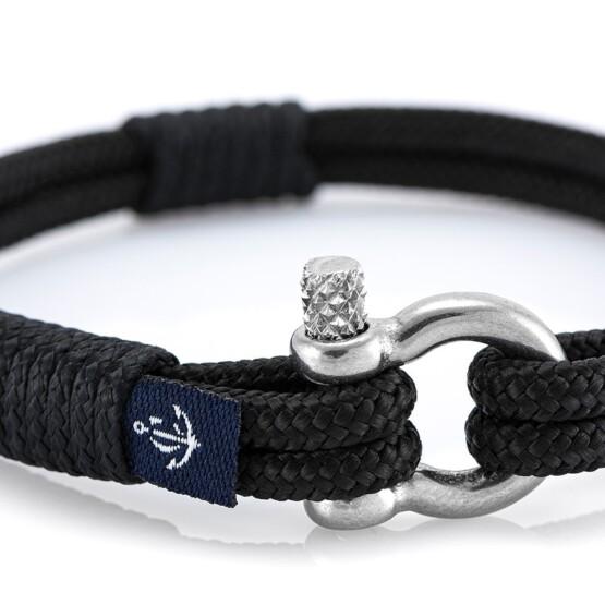 Чёрный тонкий браслет для мужчин и женщин — № 862