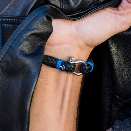 Кожаный браслет чёрного цвета для мужчин и женщин — № 10024 фото 5