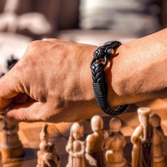 Кожаный стильный мужской браслет чёрного цвета — Jack Tar 10029 Кожаный стильный мужской браслет чёрного цвета — Jack Tar 10029 фото 4