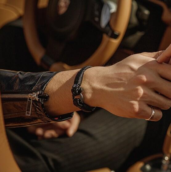 Кожаный стильный мужской браслет чёрного цвета — Jack Tar 10029 фото 3