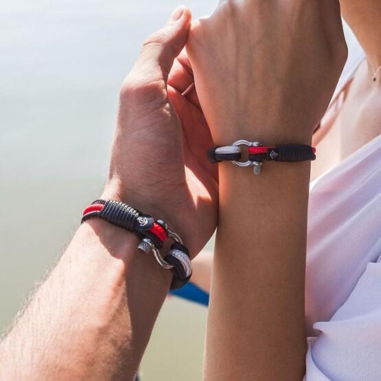 Парные браслеты для влюблённых красно-белого цвета — № 948 фото 6