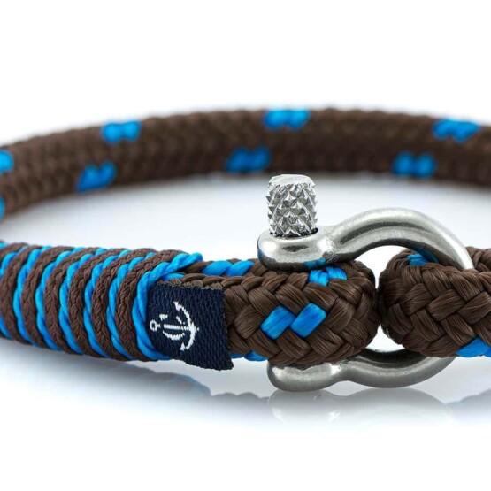 Тонкий коричневый браслет с синим для мужчин и женщин — № 880 фото 2