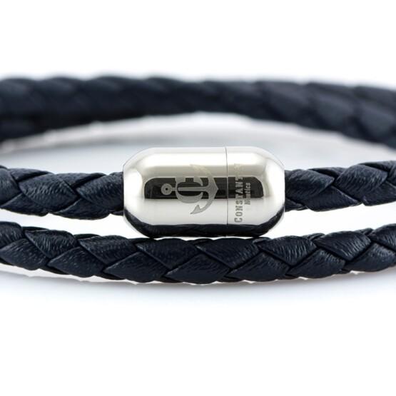 Двойной синий кожаный браслет для женщин с серебристым магнитом CNJ #10056