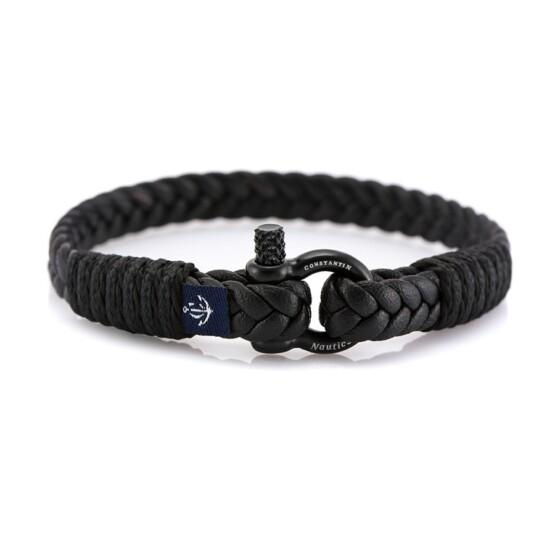Кожаные парные браслеты черного цвета DUO 975
