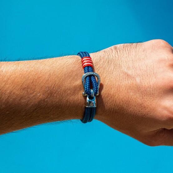 Синий браслет с серебристым крючком — № 2102