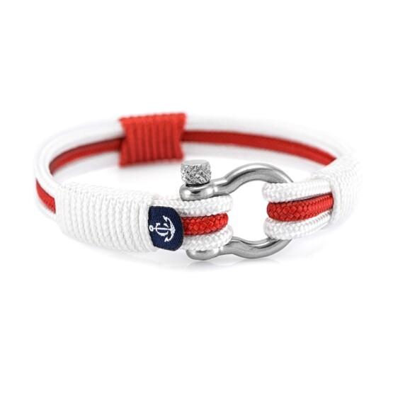 Трёхцветный бело красно белый браслет для мужчин и женщин — № 7530