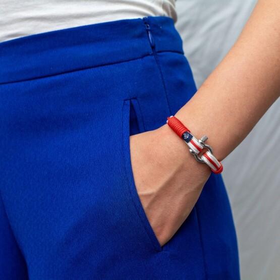 Бежево-синий тонкий браслет для мужчин и женщин — № 7537